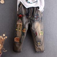 Patch Cartoon Broderie Jeans Pantalons femme Streetwear style chinois Denim Pantalon élastique Waisst Washed Sarouel Vintage