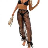 Maglia lunga allentata Polka Dot modello di sexy Donna Ruffle Beach Swimwear See Through Cover Up Pants