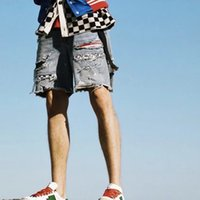 2019 Summer Dark Icon Plaid Patch Ripped Denim Shorts hombres High Street Fashion Shorts para hombre Pantalones Cortos Hombre DK023