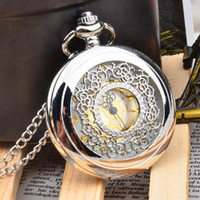 Fashion vintage pocket watch white steel cut-out flip fake mechanical pocket watch vintage male and female students watch