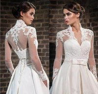Weiß Elfenbein SpitzeAppliques hohe Ansatz Hochzeit Wraps mit langen Ärmeln Sheer Braut Bolero Jacken Tüll Braut-Accessoires nach Maß