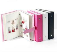 Vendita calda Donne Orecchini collezione di libri PU pelle orecchino scatola di immagazzinaggio creativo display gioielli titolare gioielli organizzatore
