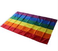 شحن مجاني + بالجملة قوس قزح أعلام مثليه مثلي الجنس موكب لافتات LGBT فخر العلم البوليستر الملونة قوس قزح العلم ، 300 قطعة / الوحدة