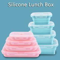 Силиконовая Складной Lunch Box Фрукты хранение продуктов Контейнер Открытого Портативный кемпинга Пикник Lunch Box Прямоугольник еда фрукты держатель VT0454