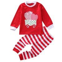Ensemble de nuit à rayures Vêtements de Noël pour enfants Noël Stripes Pjs Vêtements pour tout-petit enfant bébé vêtements de nuit Pyjama Pj