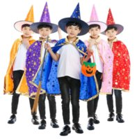 Ejecución de magia Mago de bronce de cinco estrellas Capa sombrero juego para niños trajes de Halloween Capa cotume de Niños cosplay caliente de la venta