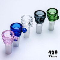 Transporte gratuito clear Glass Bowl Com Cabo De Vidro Bong 14mm 19mm Male Joint Connection Water Pipe Oil Rig Dry Herb Holder hellosmoking 777