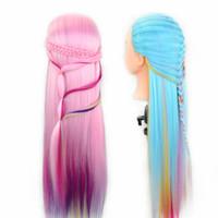 Multicolor Professional Training Heads com cabelos longos e grossos praticam cabeleireiro Manequim Dolls Hair Styling Maniqui Tete