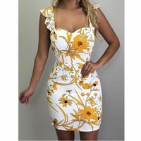 Women' s Summer Sleeveless Sling Print Package Hip Dress