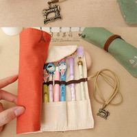 Personalizado coreano Retro Roll Pencil Case Vintage Canvas Pen Bag Cosmetic Pen Curtain Creative Simple Stationery Print Logo Drop Ship
