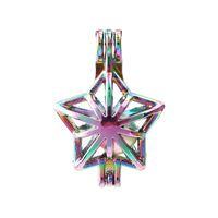 Nuovo colore dell'arcobaleno della perla della stella Cage Pendant Cage Perle olio essenziale diffusore Medaglioni per Silver Pearl fabbricazione dei monili