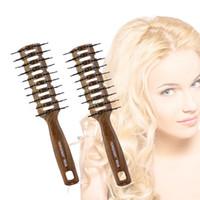 Bois Texture Placage Des Cheveux Du Cuir Chevelu Peigne En Plastique Brosse À Cheveux Démêler Les Cheveux Brosse Coussin Massager Brosse Long Curly Comb UN952