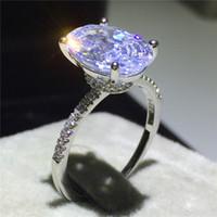 Classico anello in argento sterling 925 Ovale taglio 3 ct Diamante Fedi nuziali per fedi per le donne Gioielli da sposa
