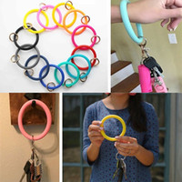 Silicone Bracelet Keychain Bangle Keyring Wristband Free You...