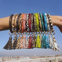 PU Leather Bracelet Keychain Women Fashion Leopard Bufflao Plaid Wristlet Keychain tassel Bangle Keychain Wristband Party Favor OOA7366N