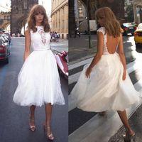 2020 Yeni Casual Çay Boyu Gelinlik Backless Cap Sleeve Dantel Tül A Hattı Kısa Gelinlikler vestido de noiva Özel Boyut