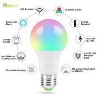 La nueva bombilla de luz inteligente WiFi Hot E27, regulable, multicolor, luces de despertador, lámpara LED RGBWW, funciona con Alexa y Google Assistant
