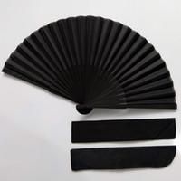 Moda bom preço estilo chinês Mão Negra Vintage Fan Folding fãs favor de partido casamento Dança com caso