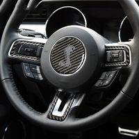 Mustang 탄소 섬유 스티어링 휠 코브라 쉘비 로고 엠블럼 스티커 자동차 스타일 Mustang 2015 2016 2017 자동차 액세서리