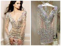 2019 Sparkly Rhinestone Short Cocktail Dresses V Neck Long S...