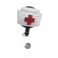 10 pz / lotto vendita calda smalto medico medico cappello e angelo decorativo retrattile ID Badge Holder reel per regalo / infermiera