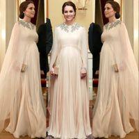 Robe de soirée arabe O-cou-Appliques perles Une ligne en mousseline de soie robe de bal pour les femmes enceintes de maternité Party Robes 2020