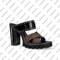 ESTRELLA camino de herradura lona de las mujeres de piel de becerro 9.5cm tobillo correa de alta zapatilla de tacón grueso diapositivas sandalia de caucho recauchutados suela de los zapatos