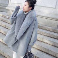 Осень Зима Новый Кашемир пальто пальто женщин Ветровки Куртки Пальто Рубашка Мода Сыпучие повседневные расходы Big меховые