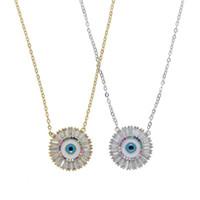 Mal ojo colgante collar geométrico forma redonda 5A pavimentada cúbico zirconia arco iris cz ojo turco joyería mujeres afortunadas