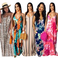 Neue Ankunfts Art und Weise beiläufige Frauen Maxi Kleid Sommer Isolationsschlauchbügel Sleeveless reizvolle gerade Robe Frauen Backless Printed Beach Dresses
