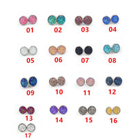 17 Color Druzy Drusy Stud Earrings Lava Rock Crystal Geometr...