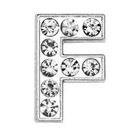50PCS / lot 8 mm F Argent Lettre Diapo Charms pleine Strass Pour 8 mm bandes Fit bricolage téléphone bracelet en cuir SL0003