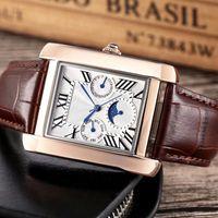 عالية الجودة الرجال الساعات جميع الأوجه تعمل جلدية حقيقية الذهب 35MM الاتصال الهاتفي أزياء ساعة اليد للرجال هدية عيد الحب دروبشيبينغ بالجملة