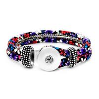 5 colori Snap Button Charm Ethnic Wrap Bracciali 18 MM zenzero scatta Braccialetti Per le donne Signore Femminile Moda FAI DA TE Noosa Gioielli In Bulk