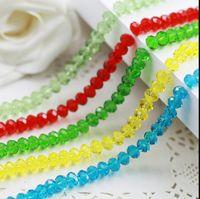 8mm kralen handwerk maken DIY suspensie ovale platte facet glazen kristal diverse kleur spacer bead groothandel sieraden accessoires 5 sets