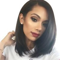 Largo del hombro Sintético Flequillo inclinado Peluca de peluca natural peluda para las mujeres negras Resisstant Calor damas peluca de pelo recto corto