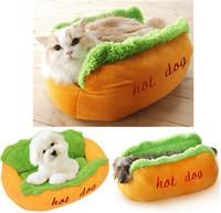 هوت دوج سرير لينة سرير دافئ الحيوانات الأليفة هوت دوج وسادة الحيوانات الأليفة وسادة نمط U على شكل شتاء دافئ بيت للكلاب القط