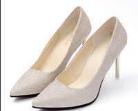2018 sequined cloth Women's Shoes in Spring and Autumn with New style High-heeled pointed end fine heel