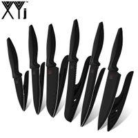 Xyj سكاكين المطبخ 6 قطع الأسود بليد المقاوم للصدأ سكين مجموعة الفاكهة أداة التقطيع santoku الشيف سكين أدوات الطبخ