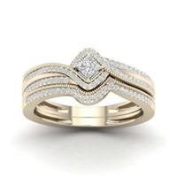 Gold Rose Gold Silber Farbe Funkelnder Quadrat Zirkon Prinzessin Ring Set Hohe Qualität Hochzeit Engagement Party Schmuck Bague Femme