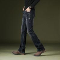 Icpans Boot Cut Flared Jeans Erkekler Vintage Streç Düzenli Fit Erkek Rahat Erkek Bootcut Pantolon 2019 Moda Mavi