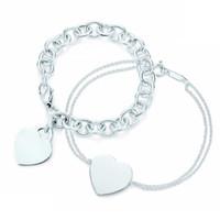 Novo 100% 925 Sterling Silver Coração em forma de bracelete elegante das mulheres bracelete de travamento de prata