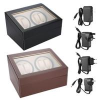 PU de Couro Automático 4 + 6 Relógio Winder Rotator Caso de Armazenamento caixa de Exibição Organizador Silencioso Operação de Rotação Automática caixas de Relógio Caso