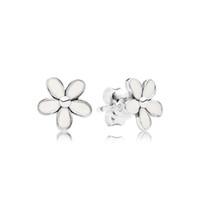 Émail blanc marguerite goujon boucles d'oreilles boîte originale ensemble bijoux pour Pandora 925 fleurs en argent Sterling boucles d'oreilles pour femmes filles