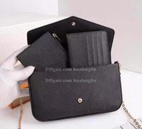 Женщины Messenger Кожаная сумка Вечерняя Сумка Оригинальная коробка 3 в 1 Высококачественные цветочные Шашки Дата Код Серийный номер