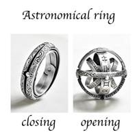 erkekler kadınlar metal topu Yaratıcı Kompleksi Döner Kozmik Parmak ruh hali yüzüğü erkekler moda takı hediye Gümüş Astronomik Yüzük