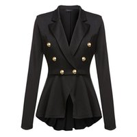 Blazer women black 2XL plus size long sleeve coat 2019 new s...