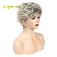 Joy&luck 10inch Short Wig Blonde Ombre Brown Color Straight ...