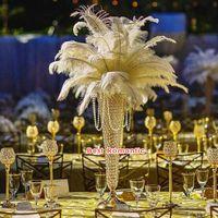 60 CM 24 inç Avrupa tarzı metal Kristal Çiçek Vazo Devekuşu Tüy Plume tutucu altın gümüş Düğün merkezi adet parti masa dekor
