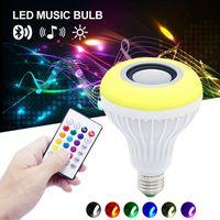 뜨거운 판매 무선 12 와트 전원 E27 LED rgb 블루투스 스피커 전구 램프 음악 재생 RGB 조명 원격 제어 led 조명